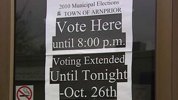 Voting in Arnprior was extended until Tuesday due to a glitch with the electronic voting system.