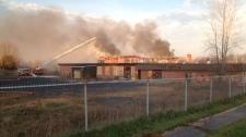 Abandoned school burns