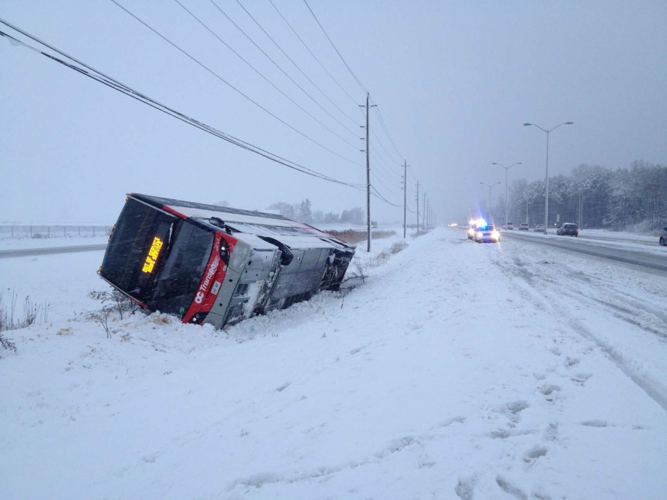 An OC Transpo bus in the ditch