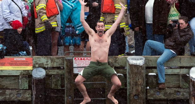 Polar bear dip, New Year's Day, icy waters