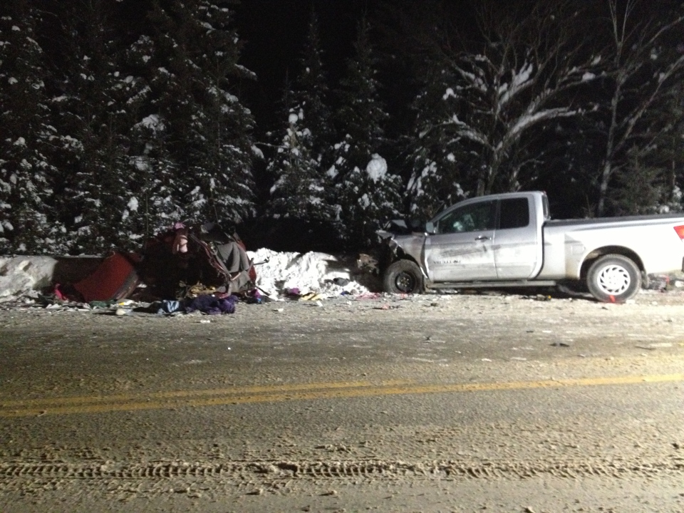 The scene of the fatal crash near Maniwaki, Quebec that killed 4 people – including 2 children – and sent the driver of the pick-up truck to hospital.