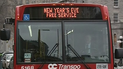 OC Transpo will offer free service from 11 p.m. to 4 a.m. on New Year's Eve.