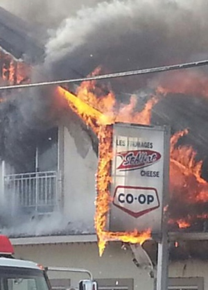 Crews battle big blaze at St. Albert Cheese