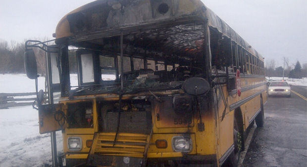 Bus Driver and one child are safe after school bus fire
