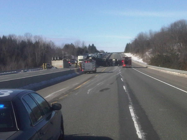 Highway 401 closed rollover Cobourg Grafton