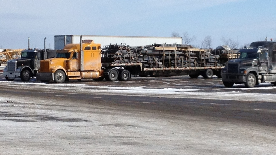 Transport trucks coming off trips up to six-weeks long taking a break at the Antrim truck stop.