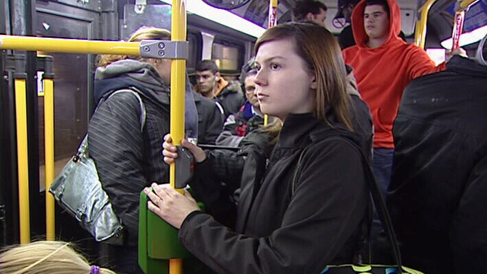 Kaleigh Langdon on the bus