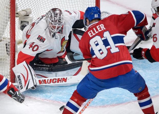 Montreal Canadiens' Lars Eller scores on Ottawa Se