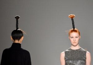 <b>Sid Neigum</b><br><br>A model shows a creation by Sid Neigum while walking the runway during Toronto Fashion Week in Toronto on Tuesday, March 19, 2013. (Nathan Denette / THE CANADIAN PRESS)