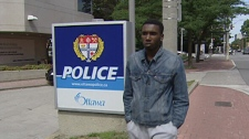 Darius Martin outside Ottawa police station