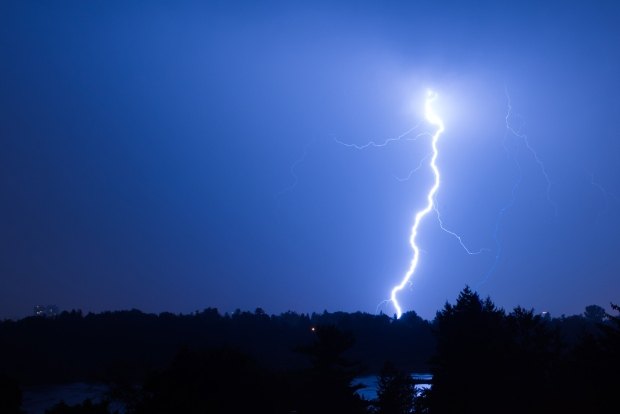 A lightning strike over Dow's Lake at midnight on Wednesday, Aug. 7, 2013. (Amy Godin / CTV Viewer )