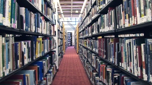 Books shelved in a library