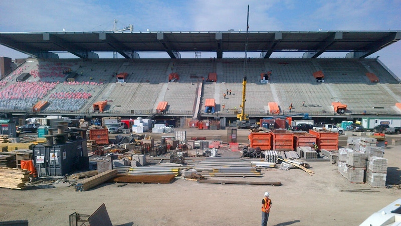 A view of the north side stands from the south side stands at Lansdowne Park.