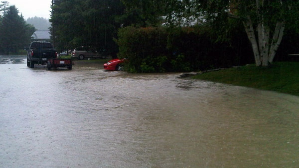 An area of Gatineau that flooded Thursday night is seen flooding again on Friday, June 24, 2011.