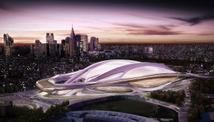 FILE - This file artist rendering released by Japan Sport Council shows the new National Stadium, the main venue which Tokyo plans to build for the 2020 Tokyo Olympics. File)