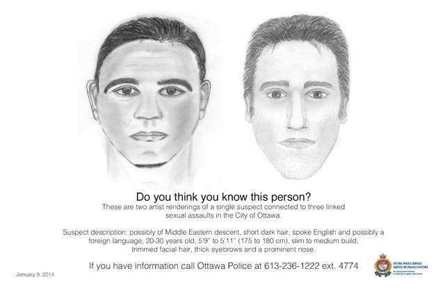 "Suspect description: possibly of Middle Eastern descent, short dark hair, spoke English and possibly a foreign language, 20-30 years old, 5'9"" to 5'11"" (175 to 180cm), slim to medium build, trimmed facial hair, thick eyebrows and a prominent nose. (Ottawa Police handout)"
