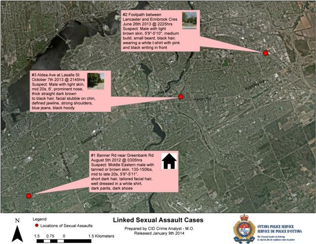 The linked sexual assault cases occurred on August 5, 2012, June 26, 2013 and October 7, 2013. (Ottawa Police Handout)