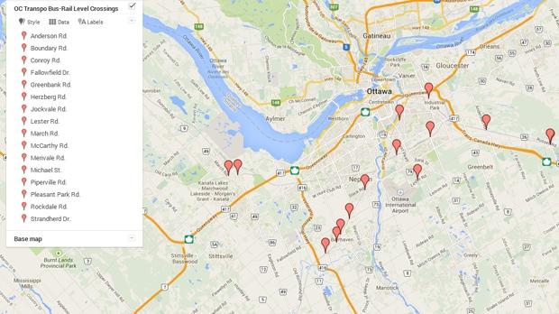 A map of OC Transpo bus level rail crossings.