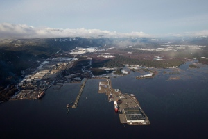 Douglas Channel, the proposed termination point for an oil pipeline in the Enbridge Northern Gateway Project, is pictured in an aerial view in Kitimat, B.C., on Tuesday January 10, 2012. (Darryl Dyck / THE CANADIAN PRESS)