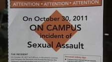 Notices are posted across Carleton University's campus after a sexual assault was reported on Oct. 30, 2011