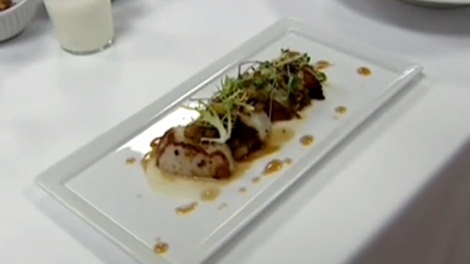 Roasted Scallops with Cauliflower Apple Cider Reduction