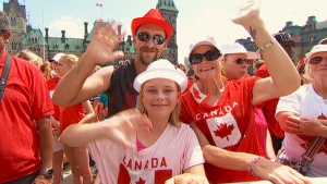 Celebrating Canada Day on Parliament Hill in Ottawa on July 1, 2014