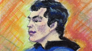 Matthew de Grood is seen in this court sketch during a court hearing, Tuesday, July 22, 2014. (Courtesy: Sharon Sargent)
