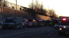 Several people suffered minor injuries when two buses crashed on the Transitway in Ottawa on Feb. 7, 2012.