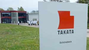 Journalists visit Takata Ignition Systems in Schoenebeck, Germany on April 17, 2014.  (AP /Jens Meyer)