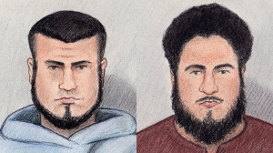 Carlos Larmond, left, and Ashton Carleton Larmond, right, are seen in a court sketch.