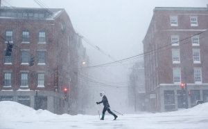 Lisetta Shah cross-country skis on Commercial Street in Portland, Maine, Tuesday, Jan. 27, 2015. (AP / Robert F. Bukaty)