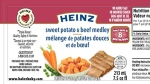 A label from Heinz Canada's Sweet Potato and Beef Medley baby food is shown. (CFIA)