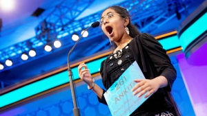 Ankita Vadiala, 13, of Manassas, Va., reacts as she is given the word 'billable' to spell during the semifinals of the Scripps National Spelling Bee in Oxon Hill, Md. on Thursday, May 28, 2015. (AP / Andrew Harnik)