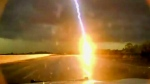 Caught on cam: Powerful lightning strike