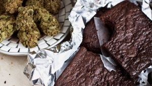 This undated image provided by Elise McDonough via Chronicle Books shows brownies made with pot. (AP / Elise McDonough)