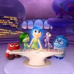 """In this file image released by Disney-Pixar, characters, from left, Anger, voiced by Lewis Black, Disgust, voiced by Mindy Kaling, Joy, voiced by Amy Poehler, Fear, voiced by Bill Hader, and Sadness, voiced by Phyllis Smith appear in a scene from """"Inside Out,"""" in theaters on June 19. (Disney-Pixar via AP)"""
