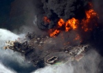 The Deepwater Horizon oil rig burns in the Gulf of Mexico on April 21, 2010.(AP / Gerald Herbert)