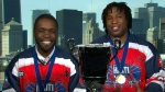 Ainslie Bien-Aime, captain of the Haitian ball hockey team, and assistant coach Georges Laraque speak to CTV's Canada AM on Friday, July 3, 2015.