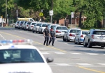 Police cars line the side of Morningside Ave in Toronto on Tuesday July 17, 2012 near the scene of a shooting on Danzig Street where 19 people were injured and 2 confirmed dead at an outdoor barbecue that took place on Monday July 16, 2012. (Aaron Vincent Elkaim/THE CANADIAN PRESS)