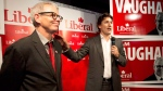 Federal Liberal leader Justin Trudeau, right, speaks to supporters with candidate for the Trinity-Spadina riding Adam Vaughan, left, during a campaign stop in Toronto on Thursday, May 22, 2014. (Nathan Denette / THE CANADIAN PRESS)