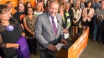 NDP Leader Tom Mulcair addresses New Democratic Party supporters in Saskatoon, Sask., on Monday Aug. 31, 2015. (Josh Schaefer / THE CANADIAN PRESS)
