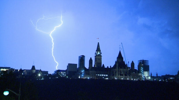 Lighting strikes in the background of Parliament during a late-summer thunderstorm in Ottawa (Bryan McNab/CTV Ottawa, September 2, 2015)