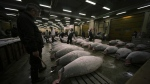Prospective buyers inspect the quality of frozen tuna before the first auction of the year at Tsukiji fish market in Tokyo on Jan. 5, 2015. (AP / Eugene Hoshiko)