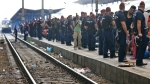 Police block the edge of the platform at the railway station in Budapest, Hungary, Thursday, Sept. 3, 2015. (AP / Frank Augstein)