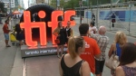 People gather on 'Festival Street' during the 40th annual Toronto International Film Festival.