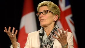 Ontario Premier Kathleen Wynne during a media availability at Queen's Park in Toronto, Thursday, Oct, 1, 2015. (THE CANADIAN PRESS/Marta Iwanek)