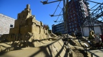 A view of the world's first real-life 'sand castle hotel,' constructed from tonnes of sand and enforced with wood, in the small southern Dutch city of Oss, on Oct. 2, 2015. (AFP / Emmanuel Dunand)