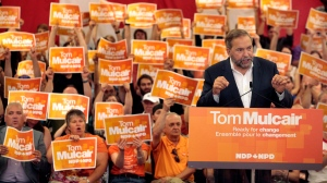 Federal NDP Leader Tom Mulcair speaks to supporters during a rally in Halifax on Sunday, Aug.30, 2015. (THE CANADIAN PRESS / Darren Pittman)