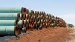 Miles of pipe for the stalled Canada-to-Texas Keystone XL pipeline are stacked in a field near Ripley, Okla., In this Feb. 1, 2012 file photo. (Sue Ogrocki / The Canadian Press)