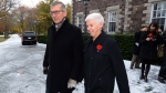 Premier Paul Davis leaves Government House with his wife Cheryl after meeting with Lt. Gov. Frank Fagan to call an election in Newfoundland and Labrador, Thursday, Nov.5, 2015. (THE CANADIAN PRESS/Keith Gosse)